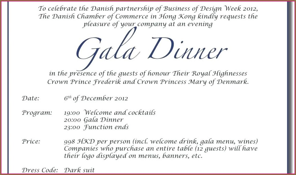 Template Official Dinner Invitation Email