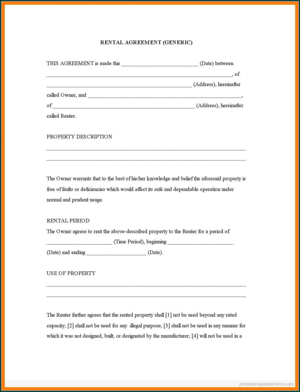Template Printable Blank Lease Agreement