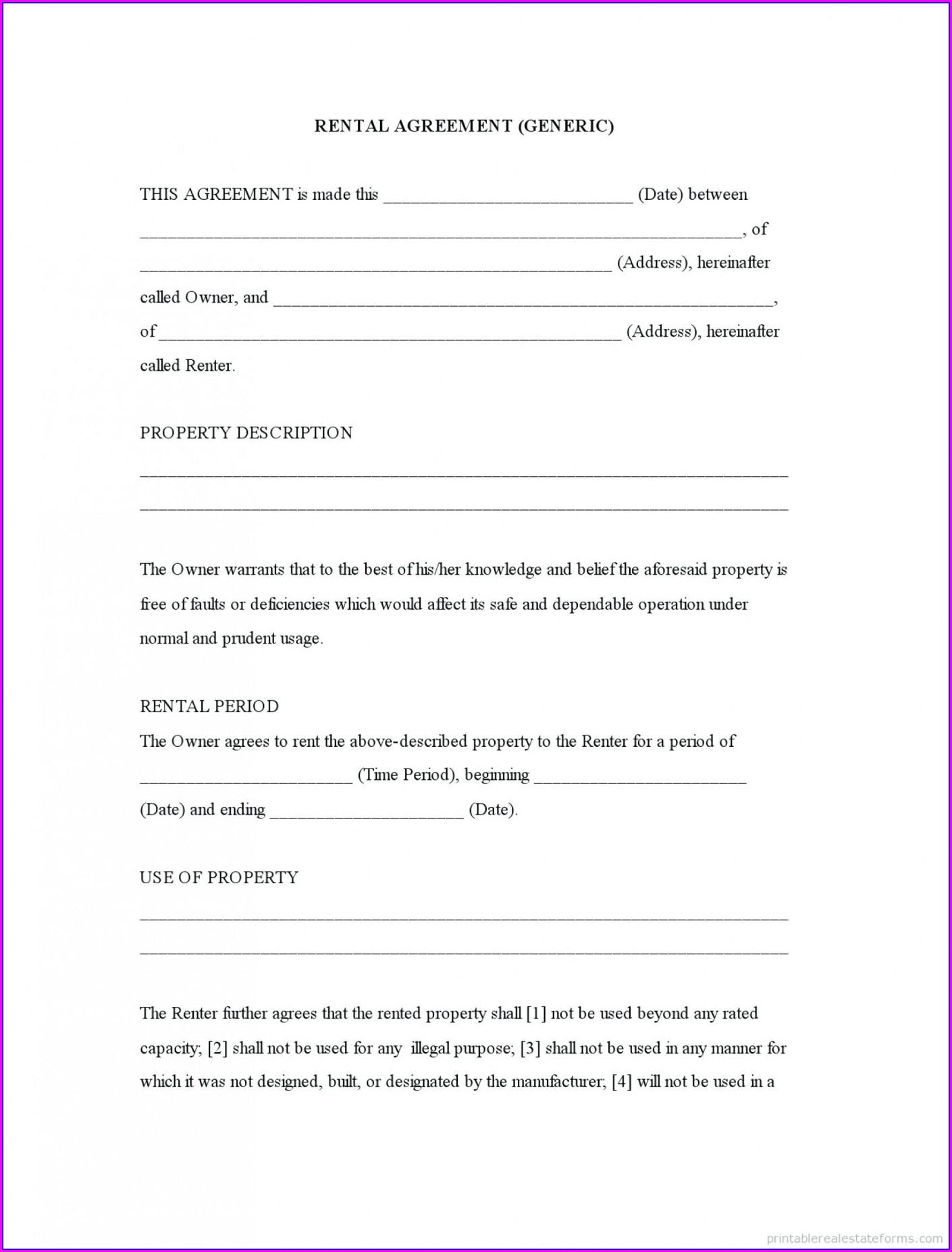 Template Printable Lease Agreements