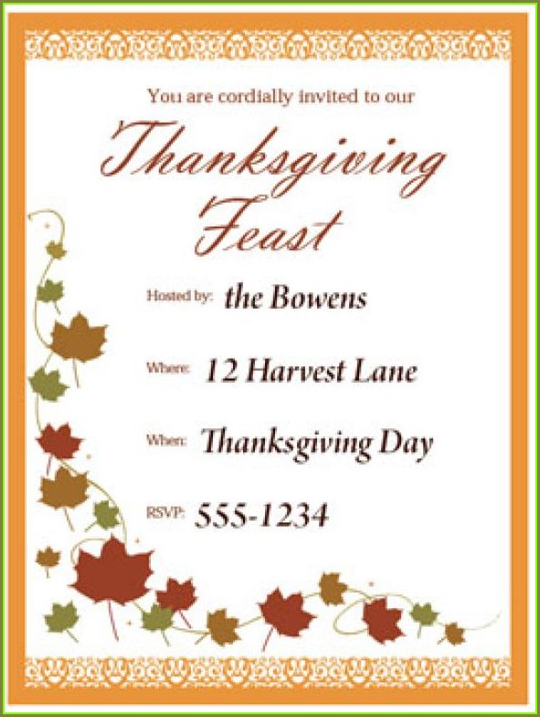 Template Printable Party Invitations Thanksgiving Invitation