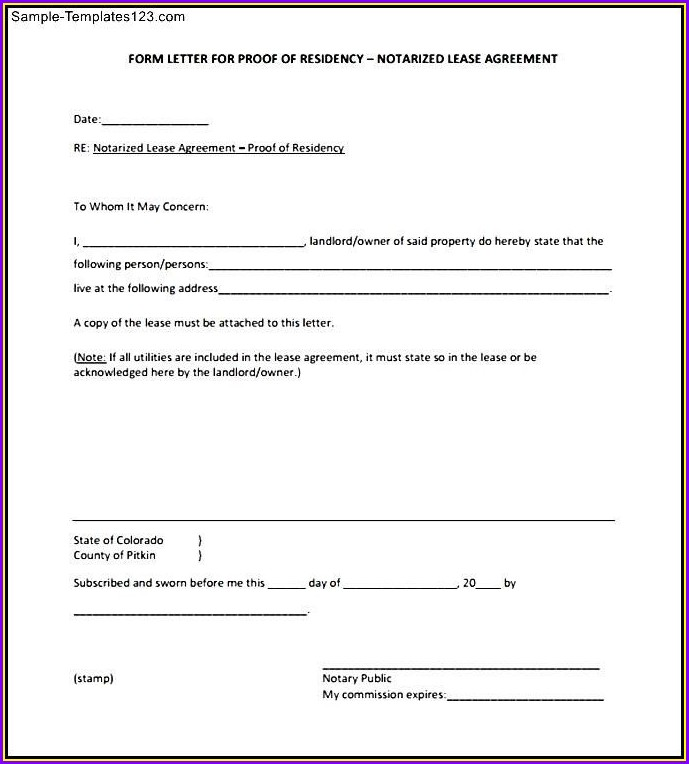 Template Proof Of Residence Affidavit