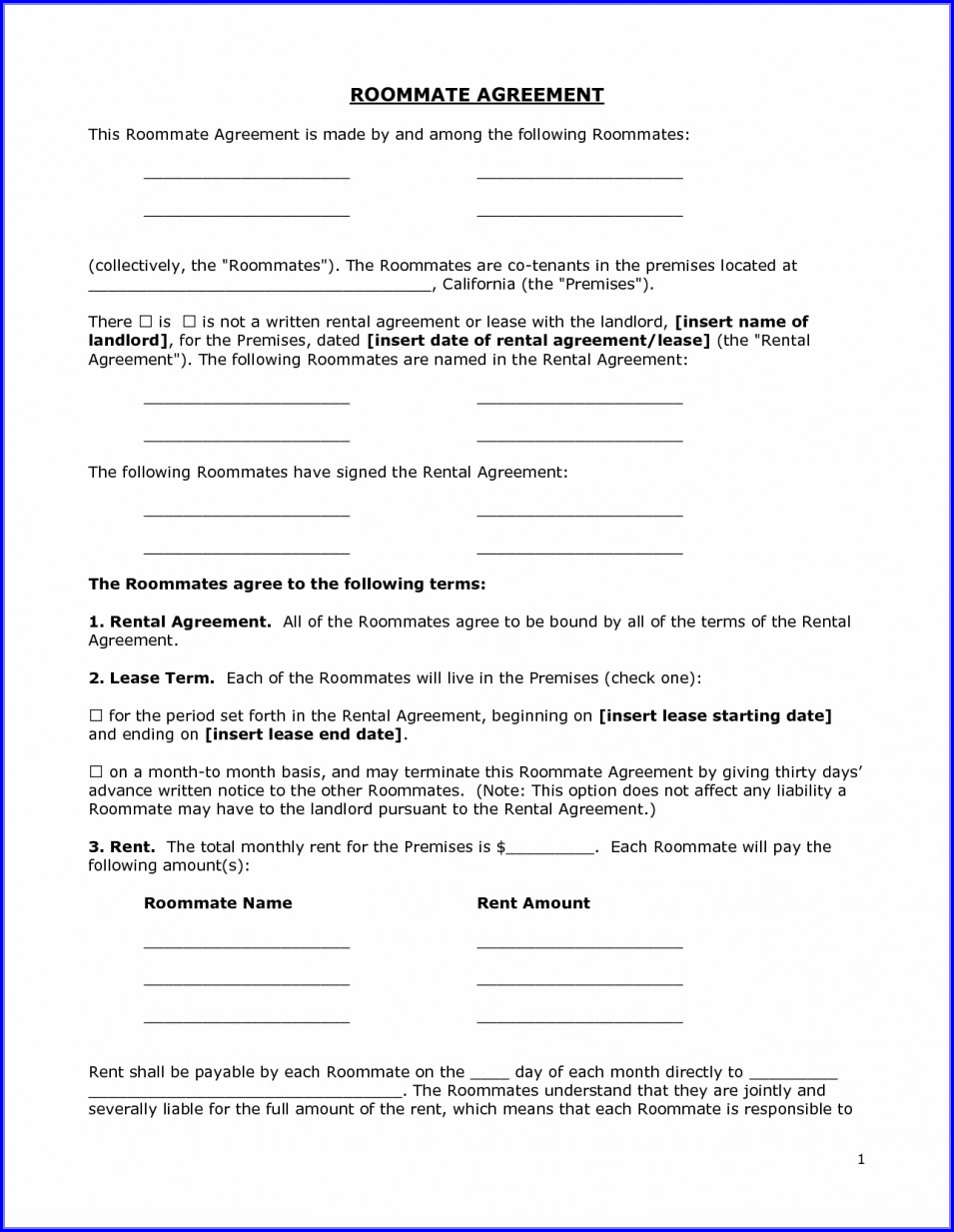 Template Simple Room Rental Agreement Form