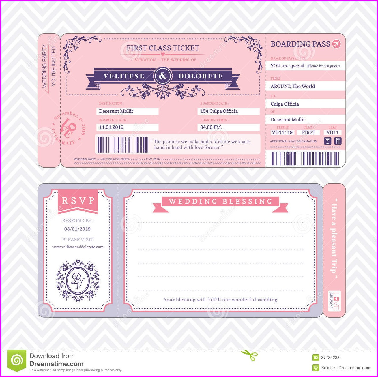 Template Ticket Style Invitation