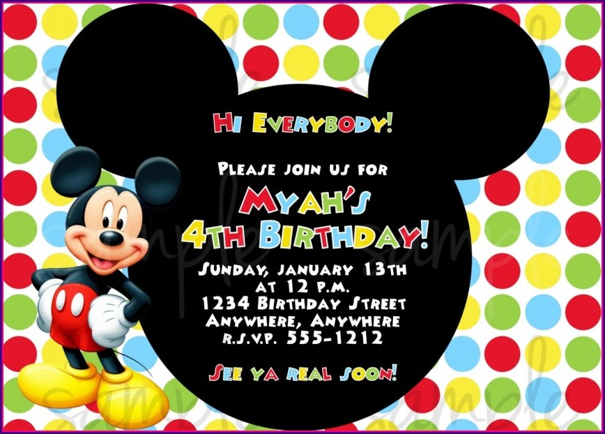 Templates Free Editable Mickey Mouse Birthday Invitation Template