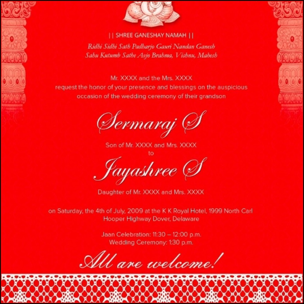 Traditional Hindu Wedding Invitation Templates