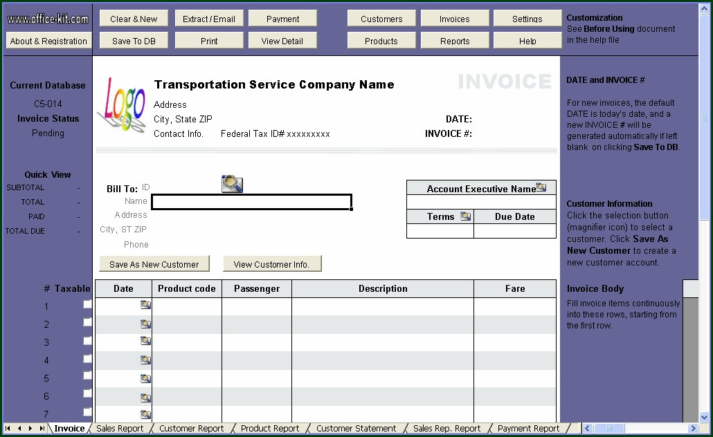 Transport Invoice Template Word