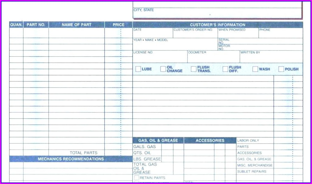 Truck Repair Work Order Template