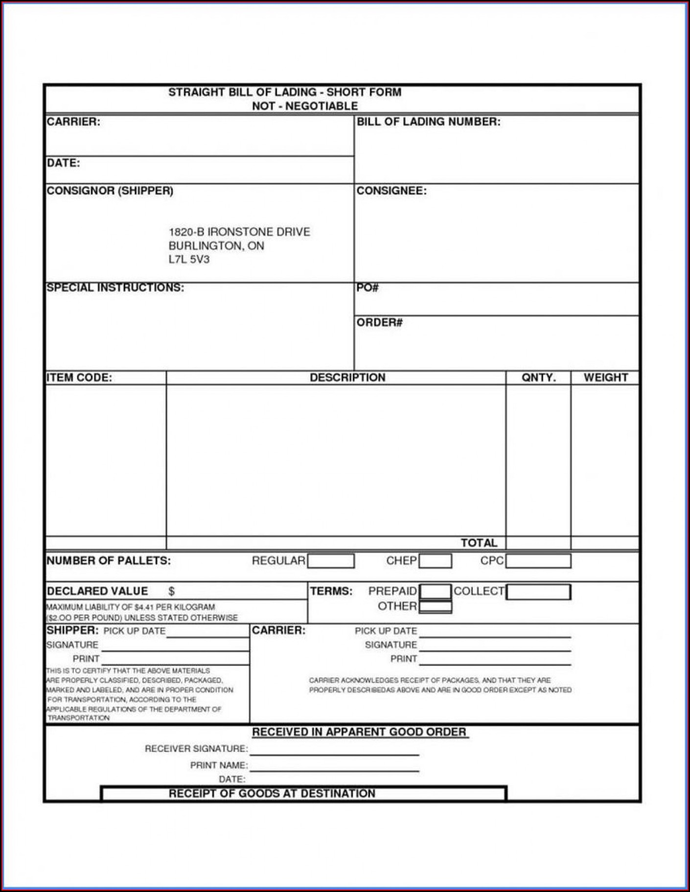 Trucking Free Bill Of Lading Template