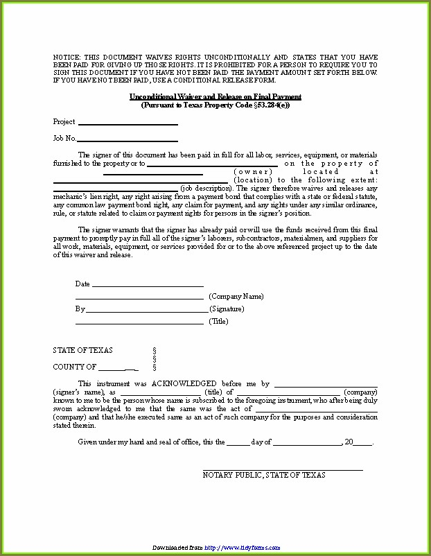 Unconditional Lien Waiver Template Texas