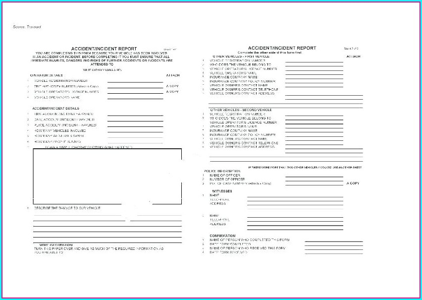Vehicle Inspection Vehicle Damage Report Template