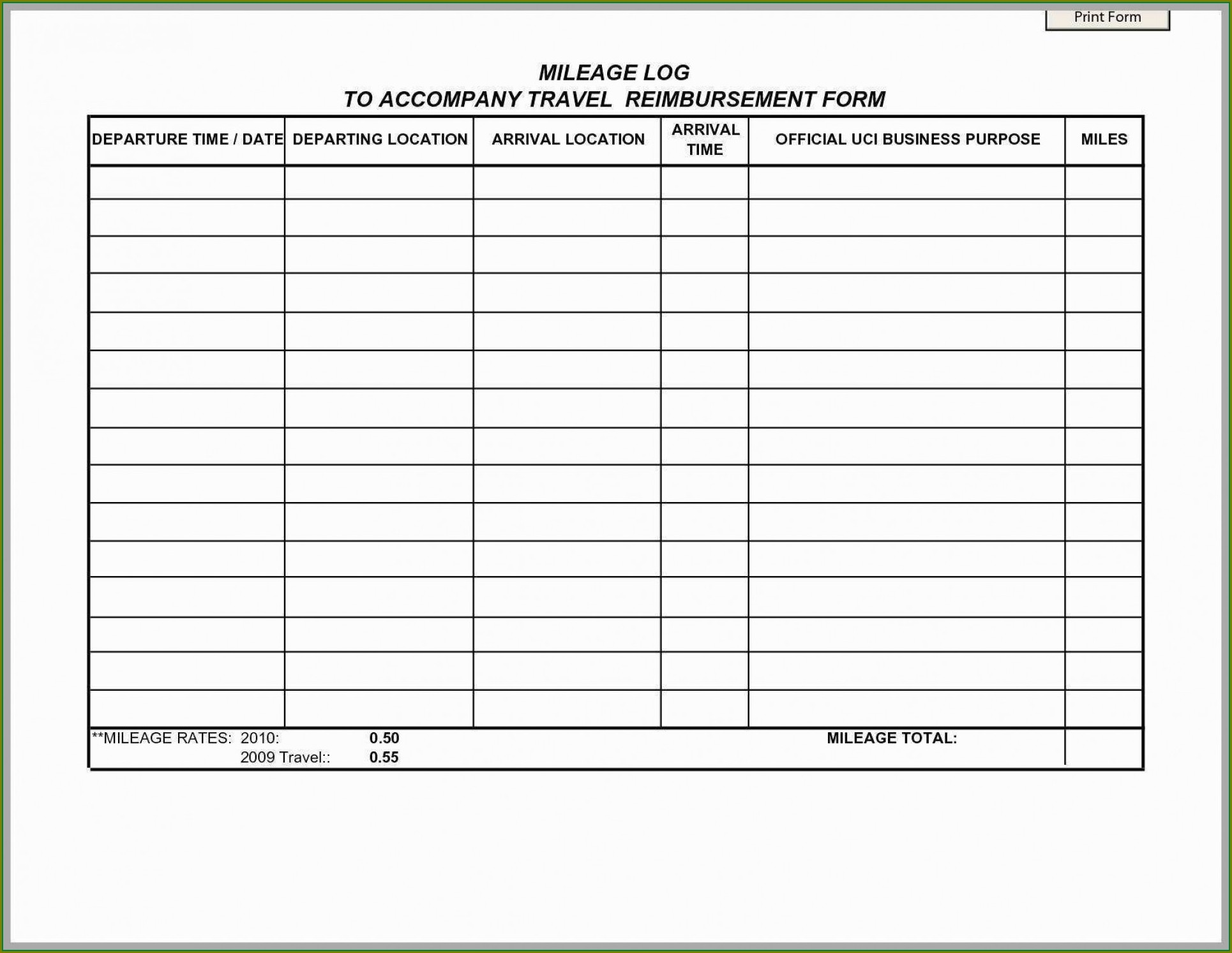 Vehicle Mileage Log Book Excel Template