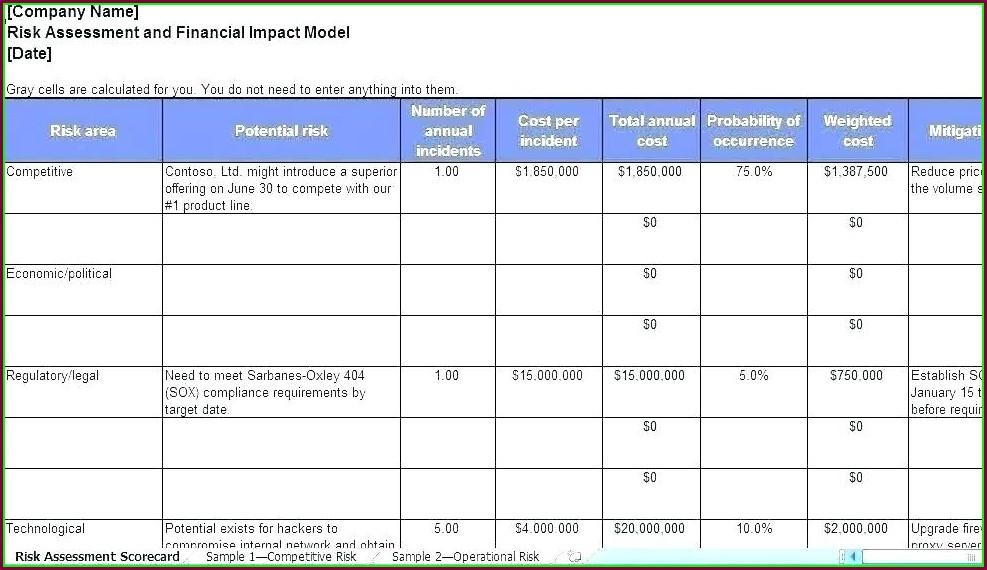 Vendor Risk Assessment Template Excel
