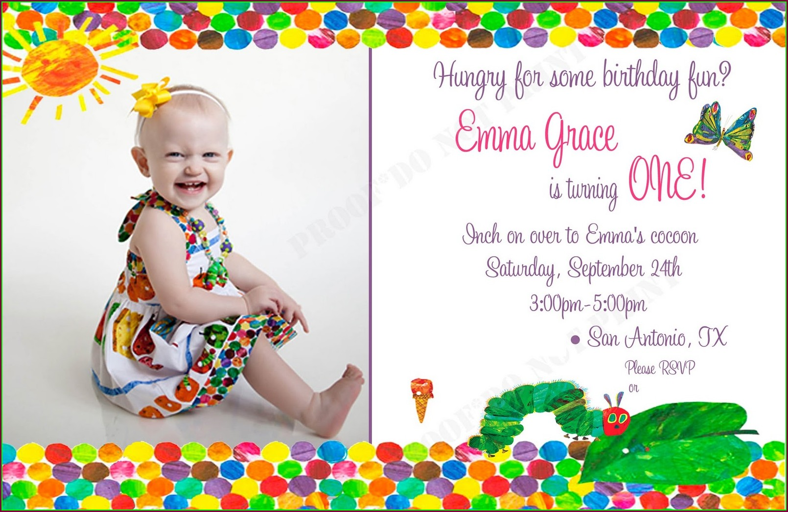 Very Hungry Caterpillar Invitation Template