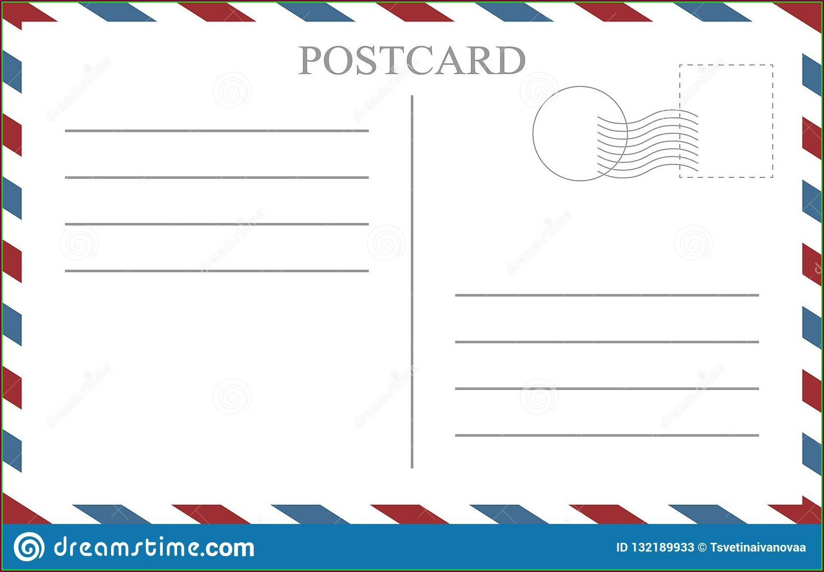 Vintage Postcard Back Template