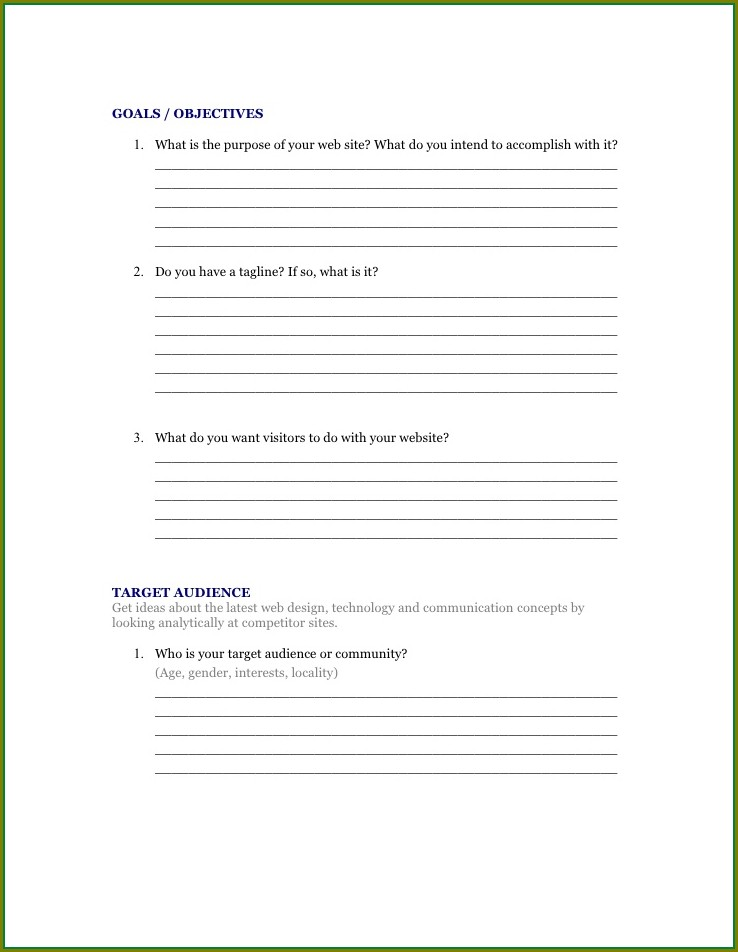 Web Design Questionnaire Template