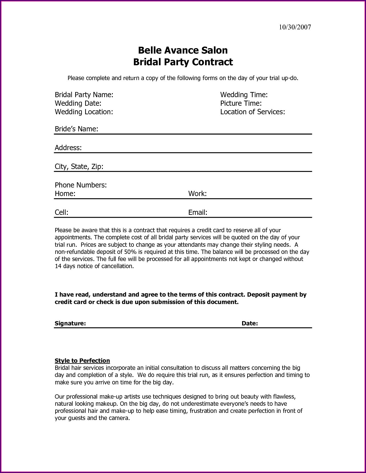Wedding Hair And Makeup Contract Template Free