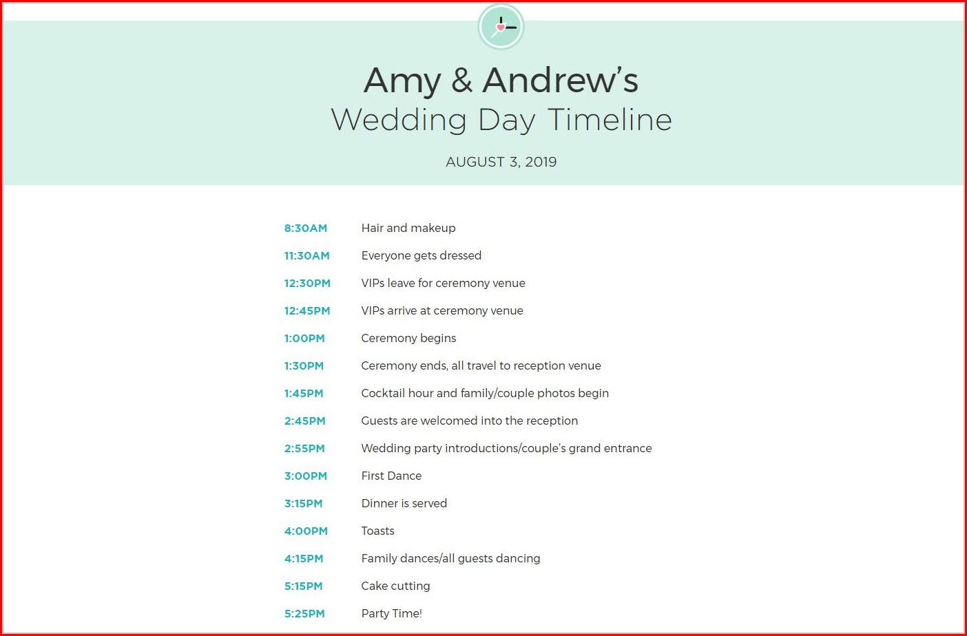 Wedding Itinerary Template Excel