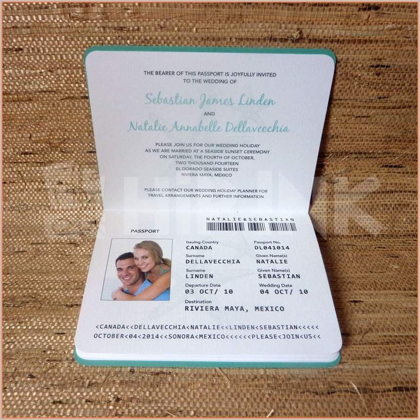 Wedding Passport Invitation Template Free