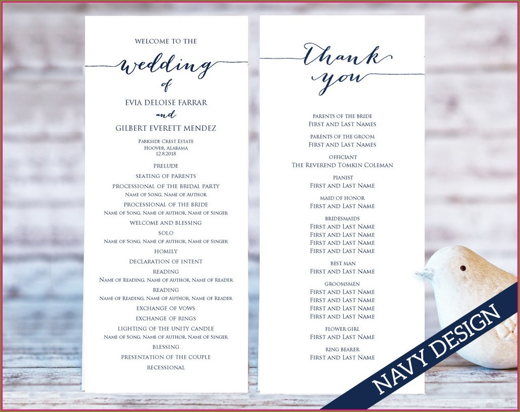 Wedding Programs Wording Templates