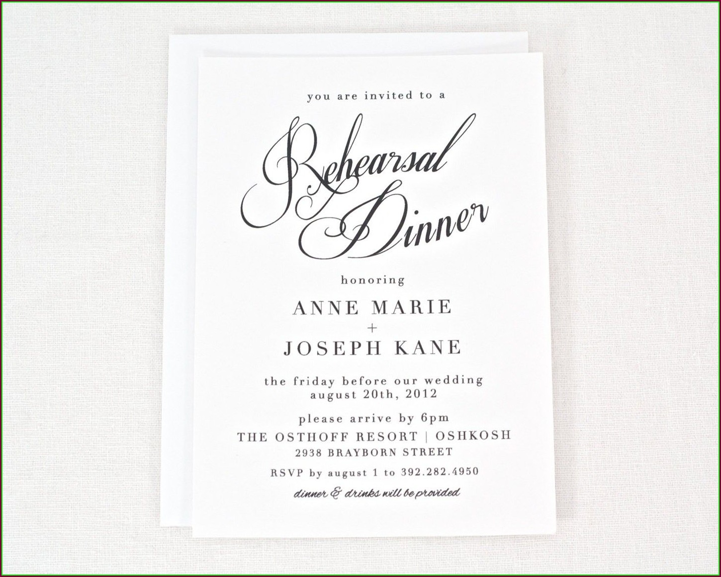 Wedding Rehearsal Invitation Template