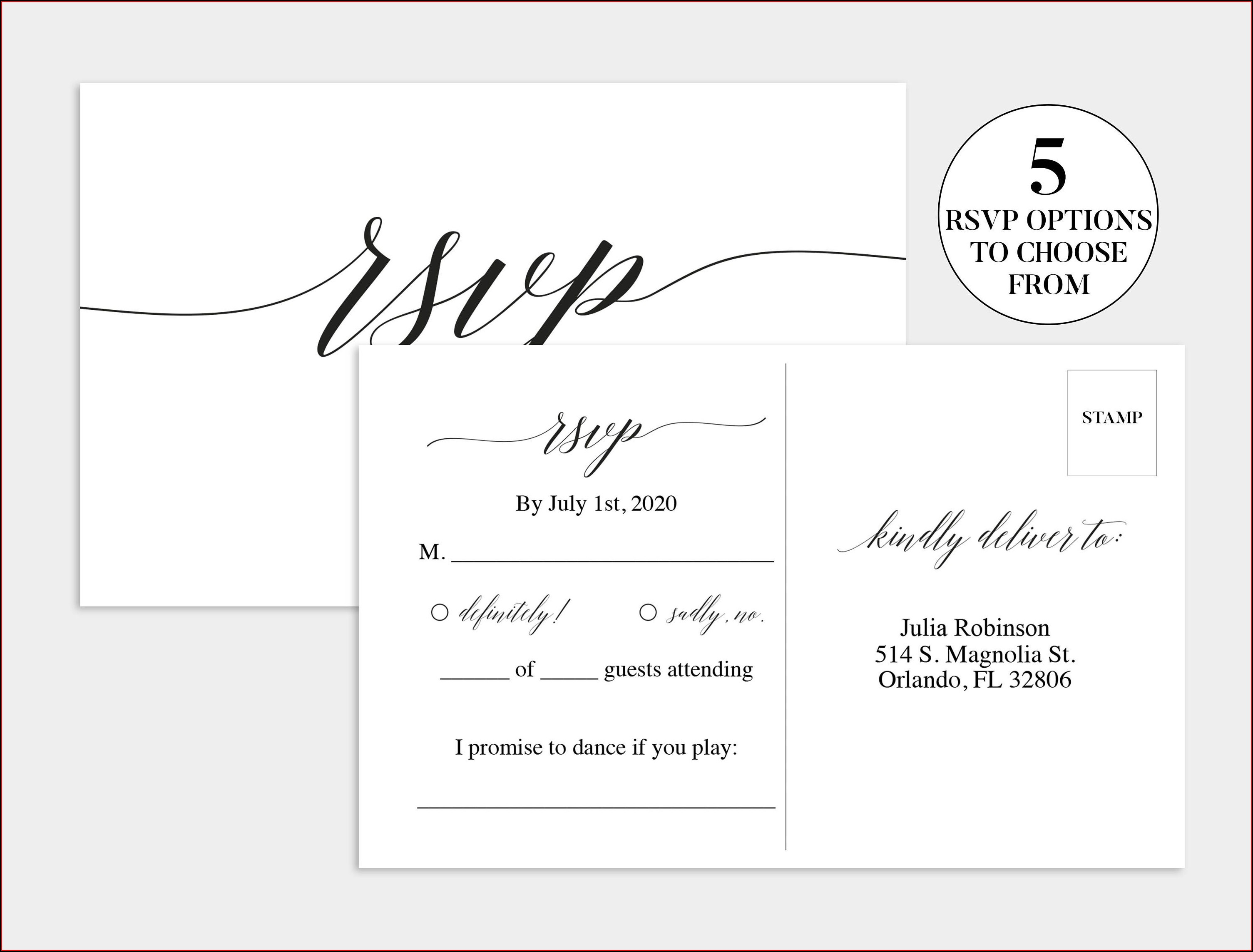 Wedding Rsvp Cards Template