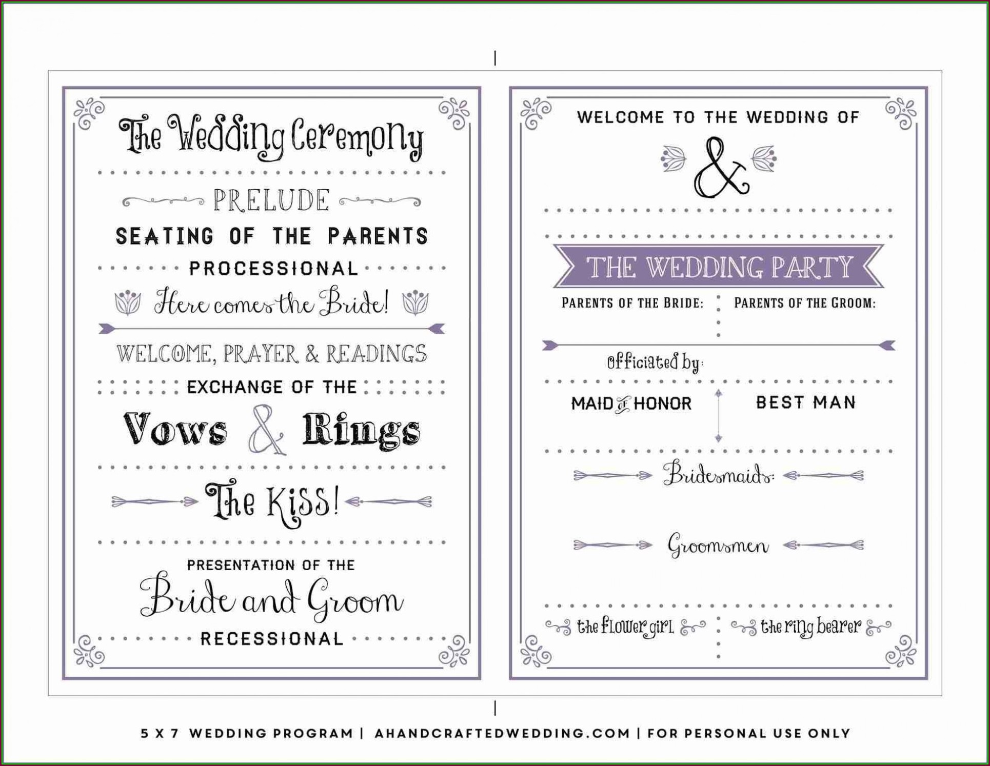 Wedding Weekend Itinerary Template For Guests