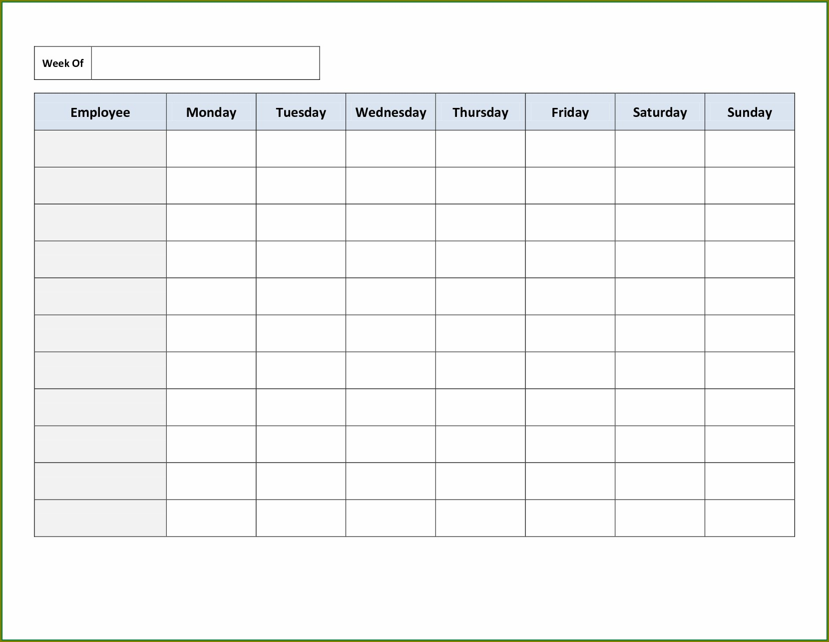 Weekly Blank Employee Schedule Template