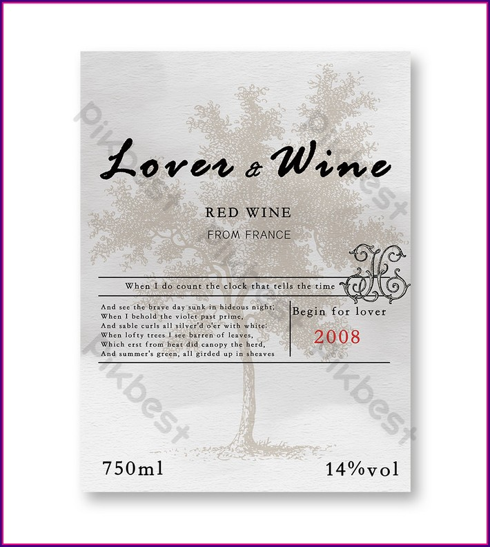 Wine Bottle Sticker Template