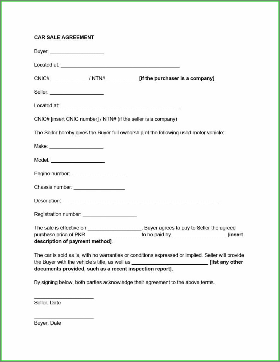 Word Car Sales Contract Template