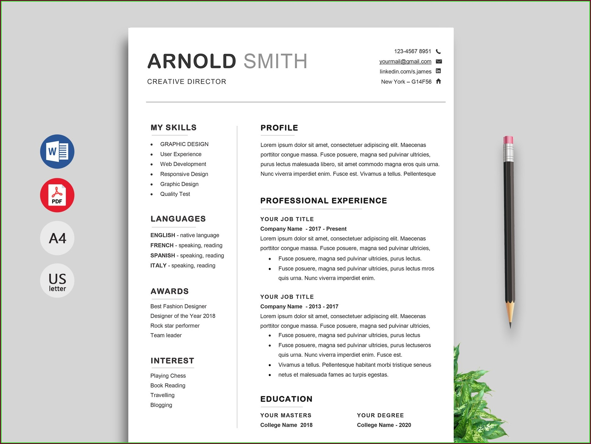 Word Document Modern Free Resume Templates
