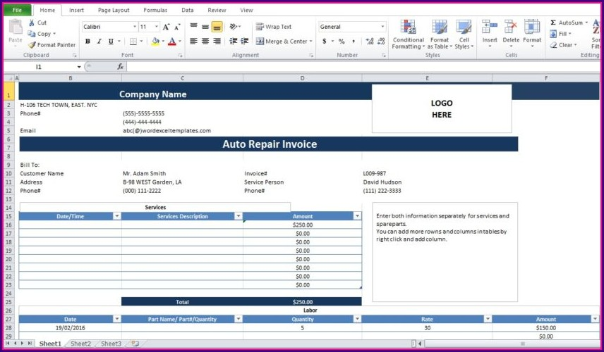 Word Mechanic Invoice Template