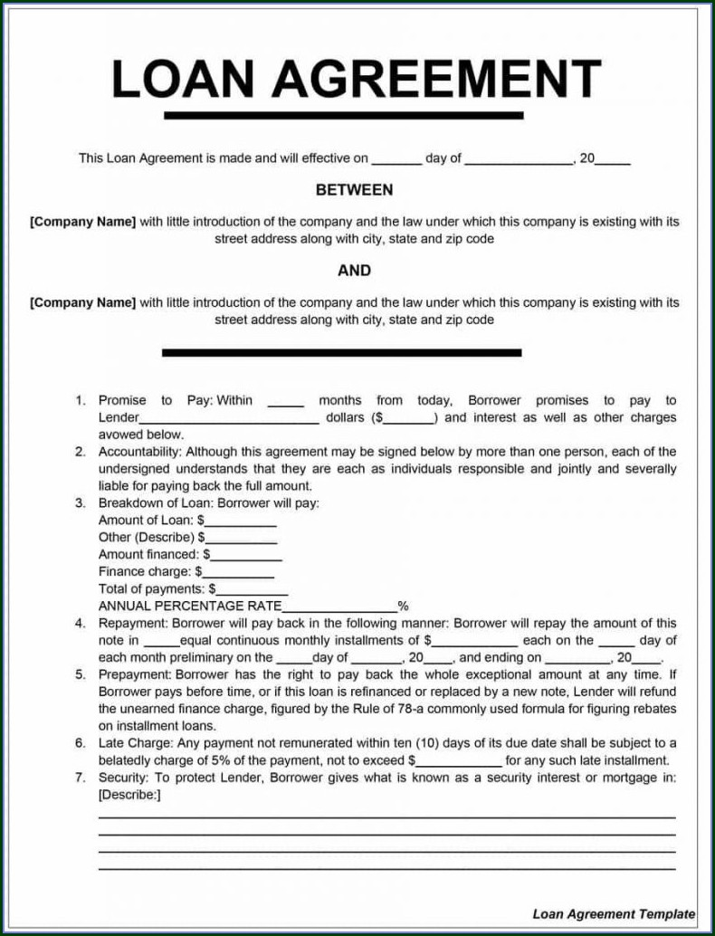 Word Personal Loan Agreement Template Free