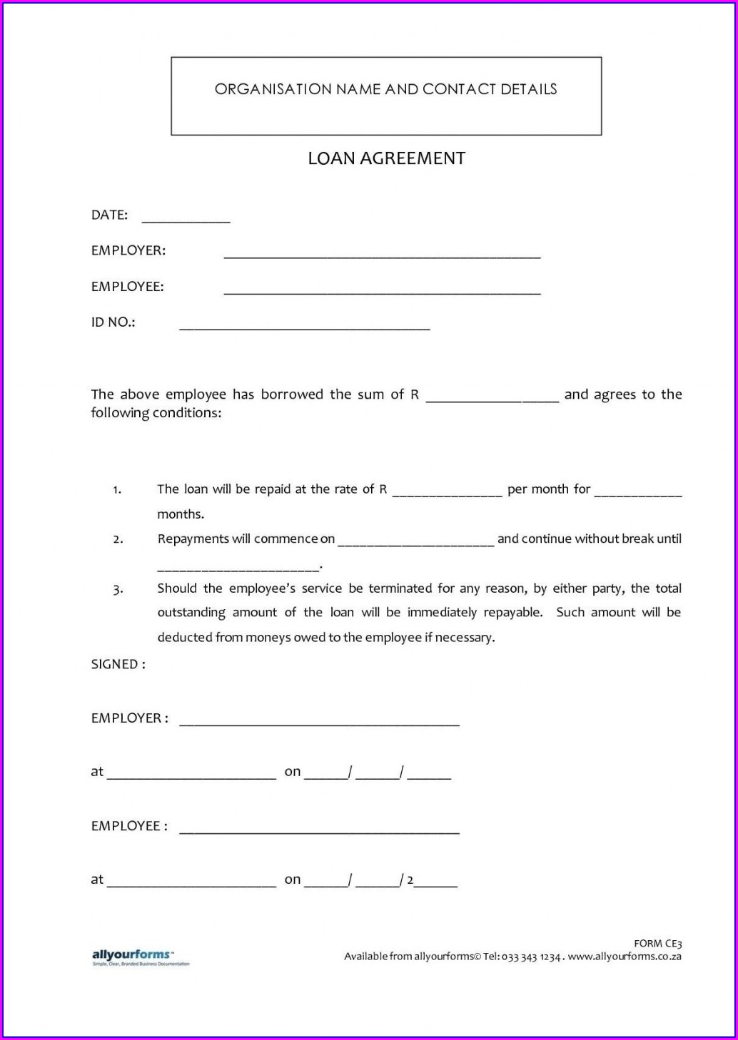 Word Simple Personal Loan Agreement Template