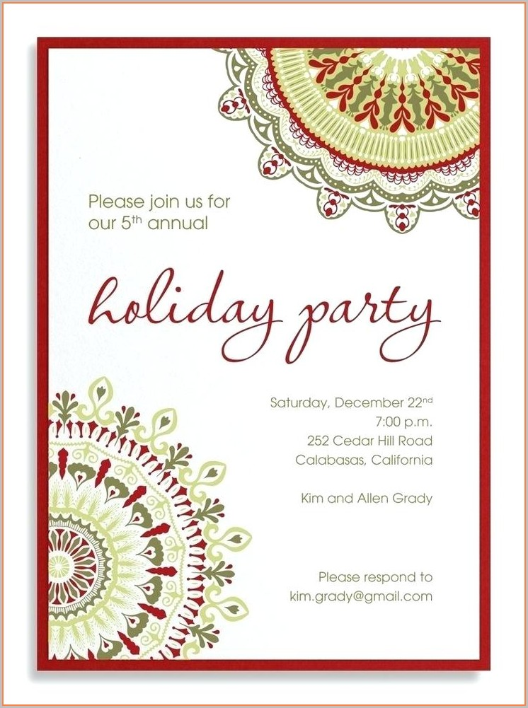 Work Christmas Party Invitation Template Free