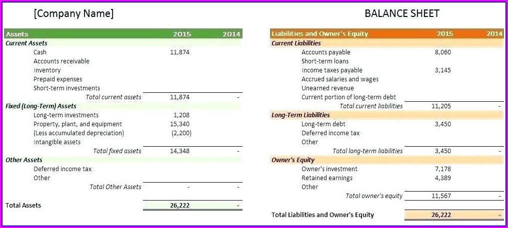 Year End Balance Sheet Template Excel