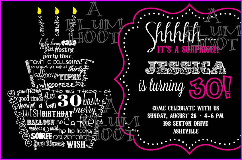 30th Birthday Invitation Templates For Him