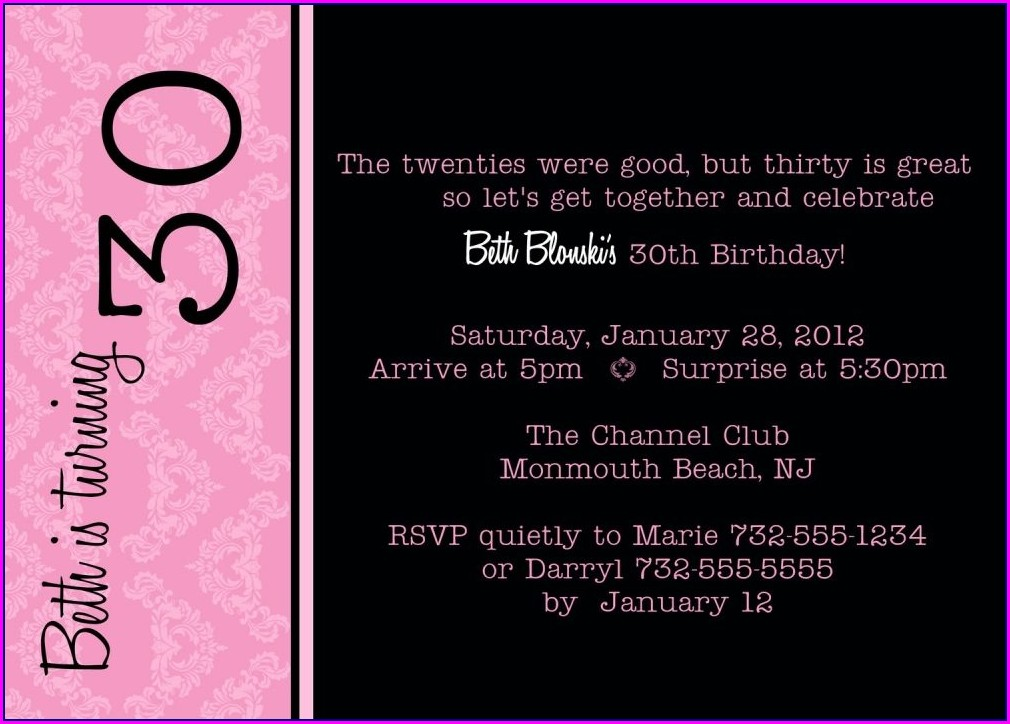 30th Birthday Invitation Templates