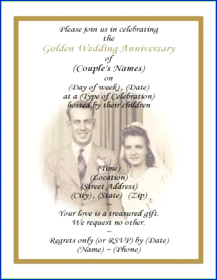 50th Wedding Anniversary Invites Templates