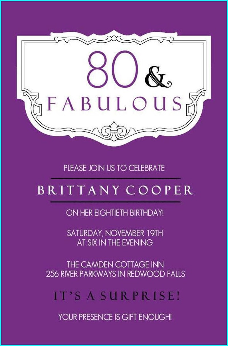 80th Birthday Invitation Card Free Template