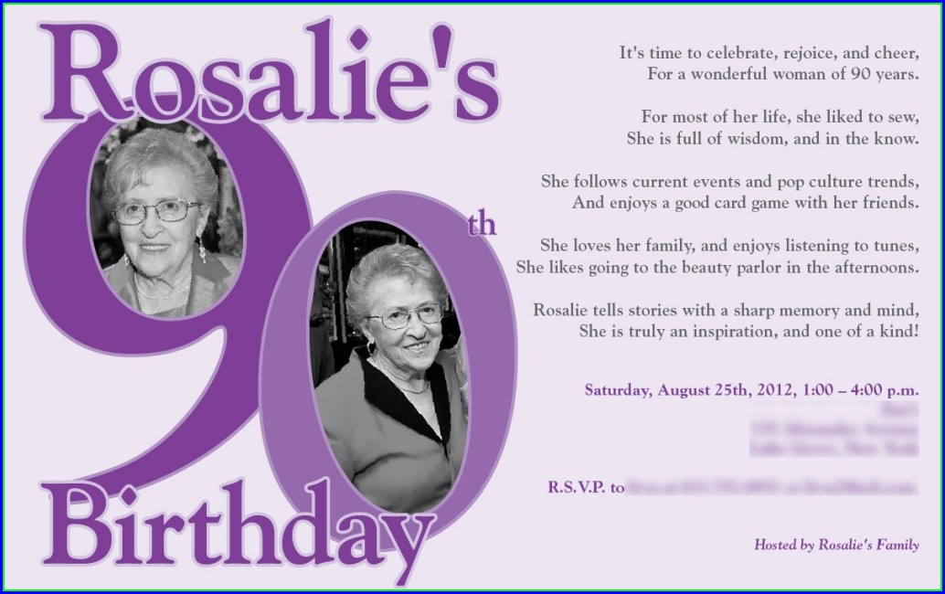 90th Birthday Invites Templates