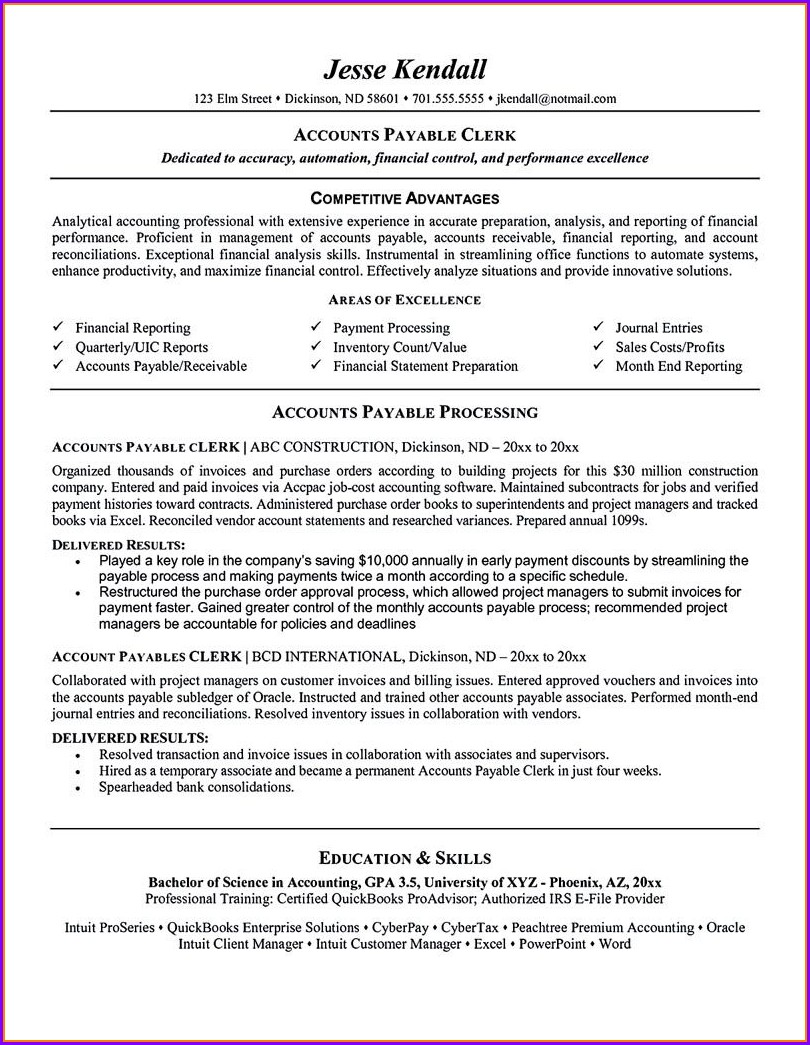 Account Payable Resume Sample Free