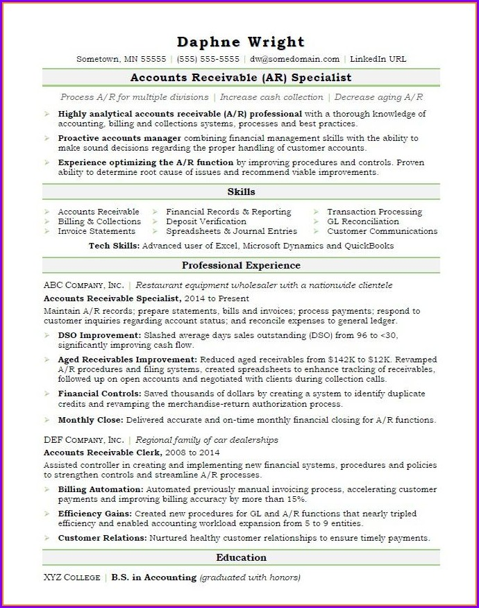 Accounts Receivable Payable Resume Samples