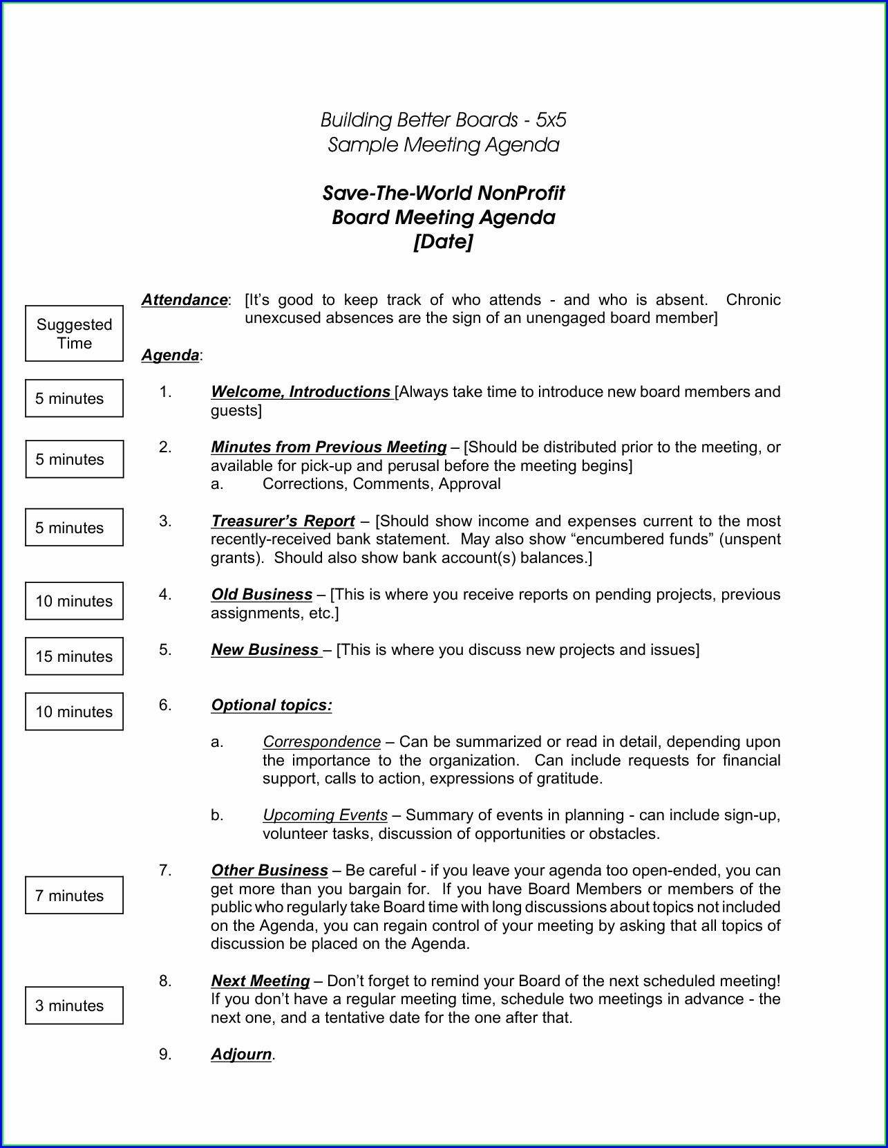 Agenda For Board Meeting Template