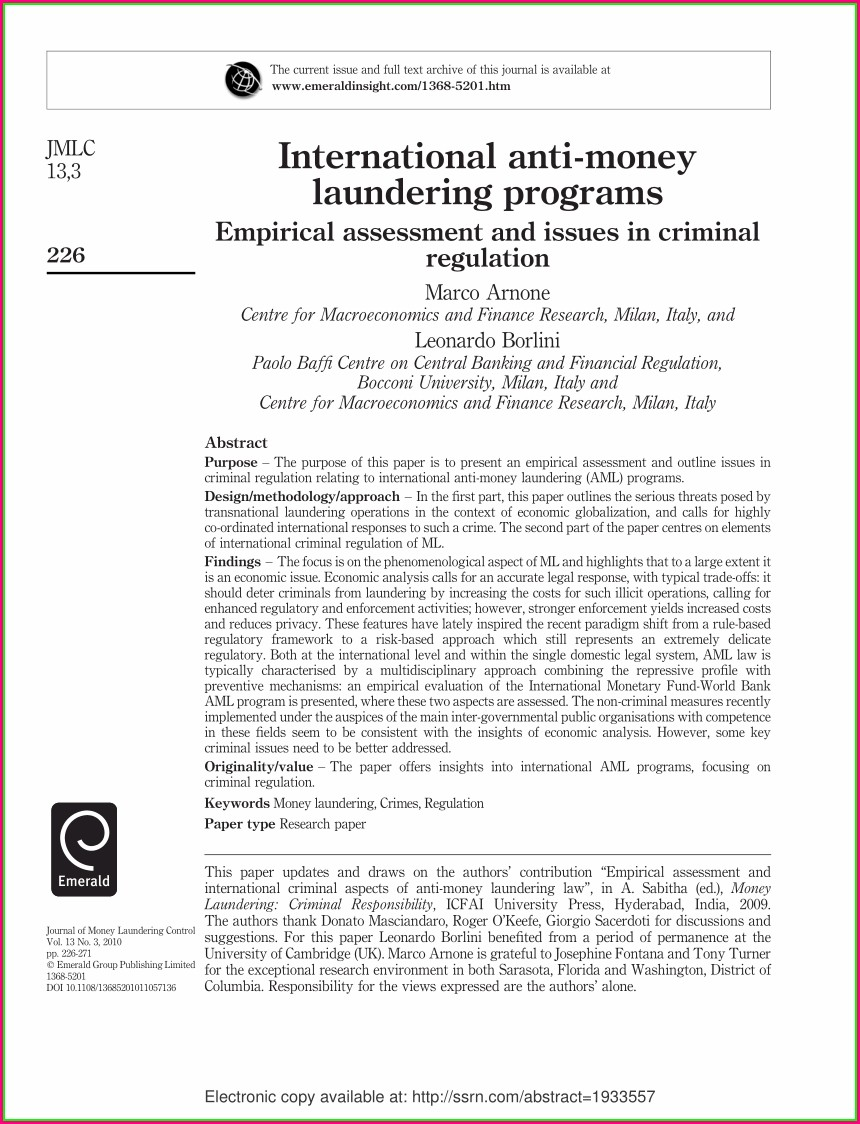 Anti Money Laundering Policy Template Australia