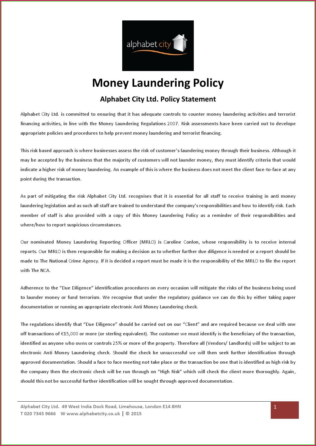 Anti Money Laundering Policy Template Free