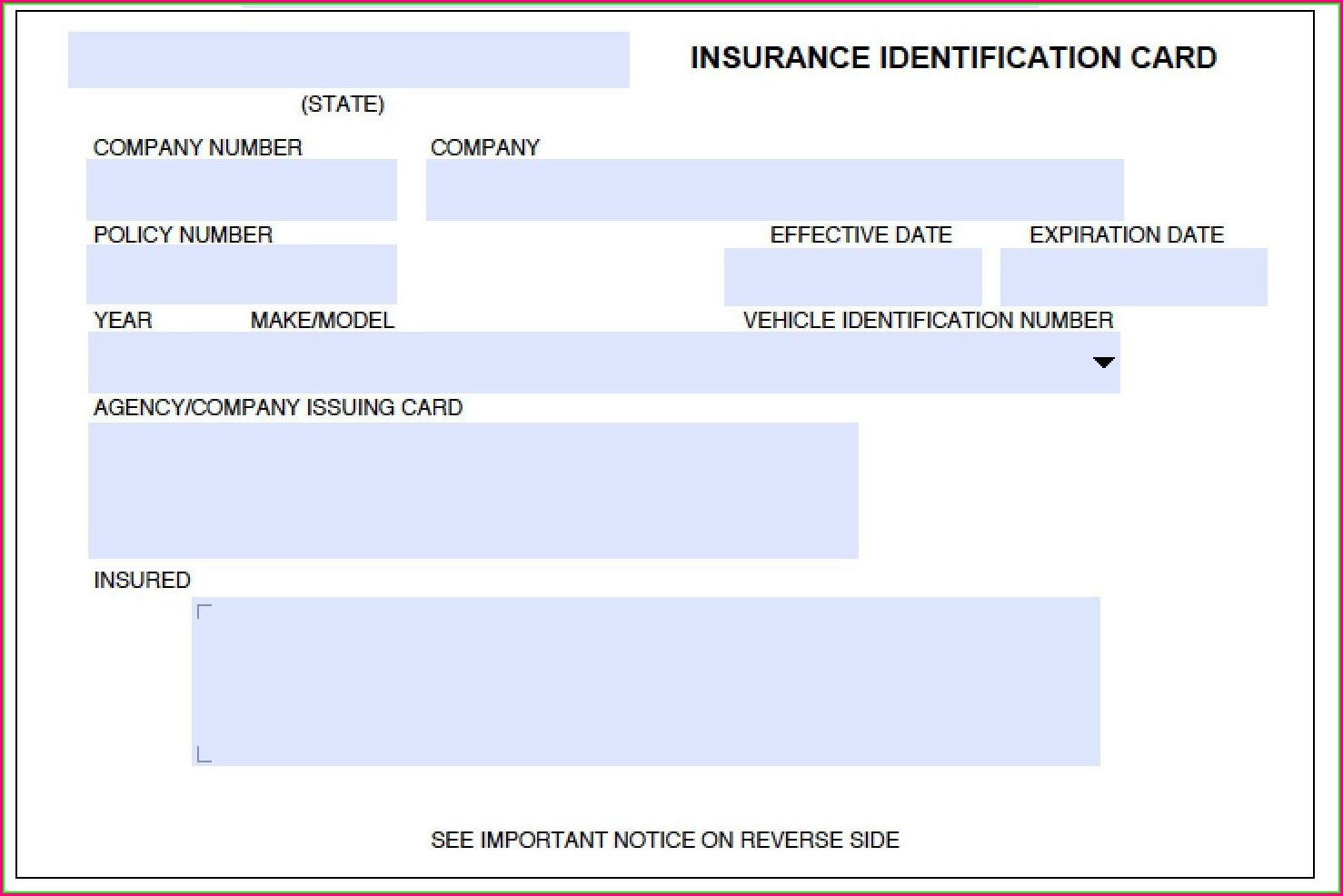 Auto Insurance Card Template Free Download