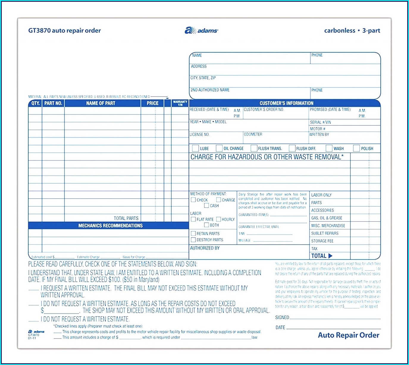 Auto Repair Form Template