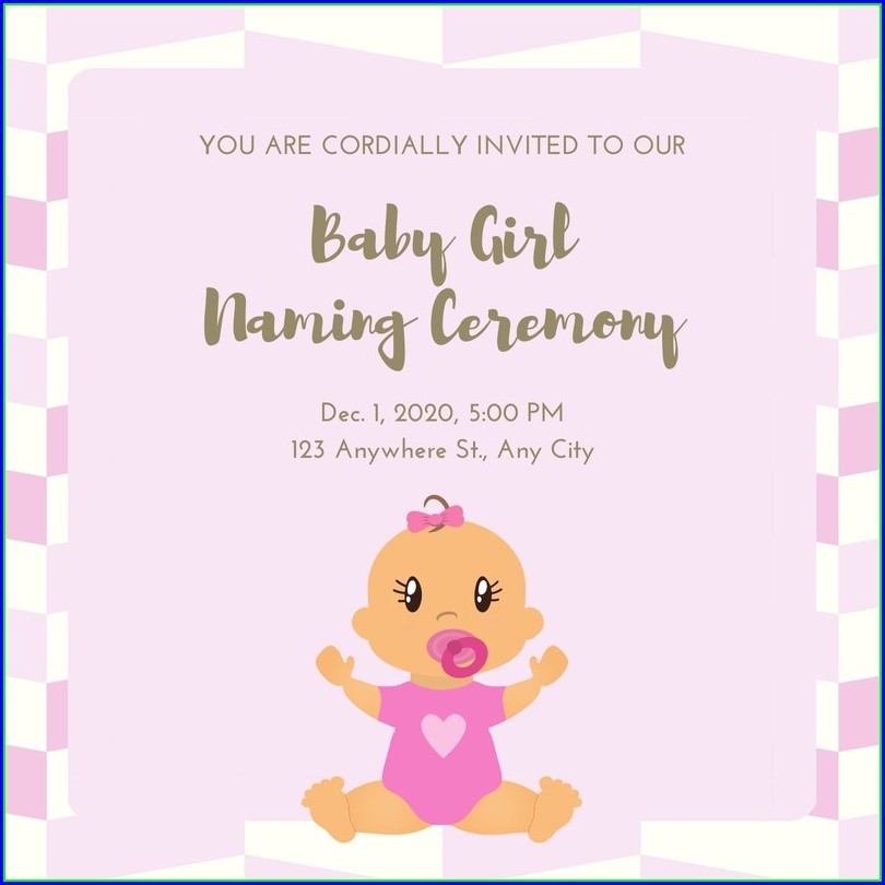 Baby Girl Naming Ceremony Invitation Templates