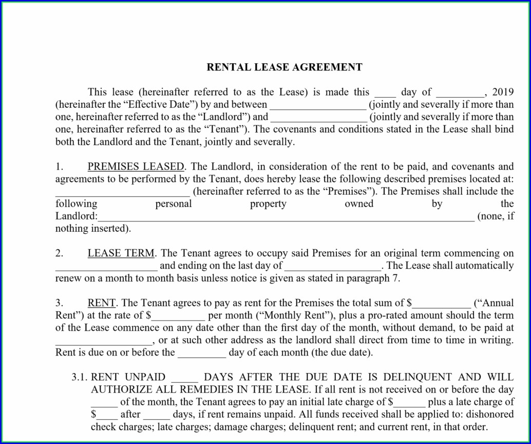 Basic Lease Agreement Template Free