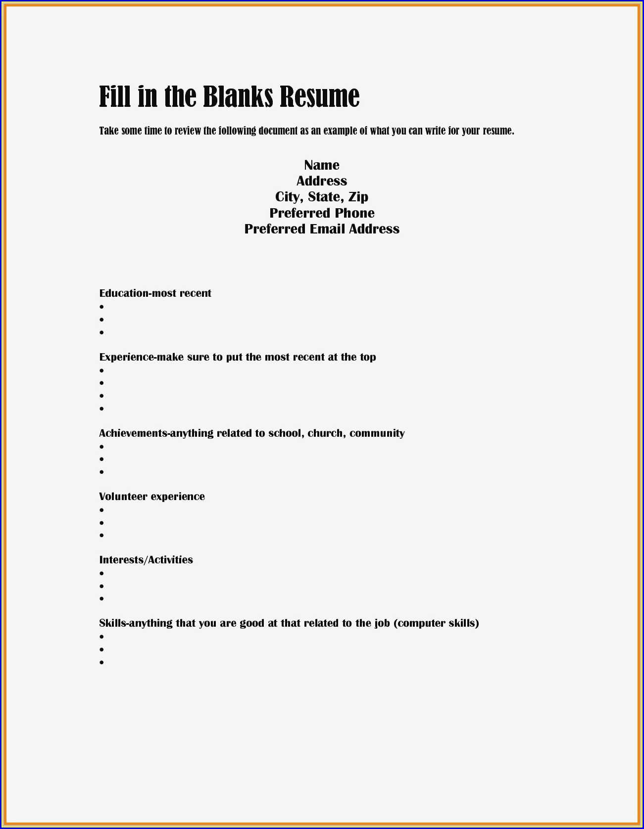 Basic Resume Template Fill In The Blank